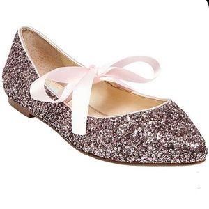 Betsey Johnson Pink Sparkle Ballet Flats Size 6